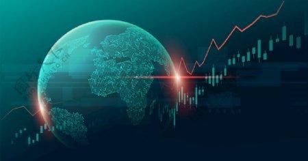 高科技地球股市曲线AI模板素材图片