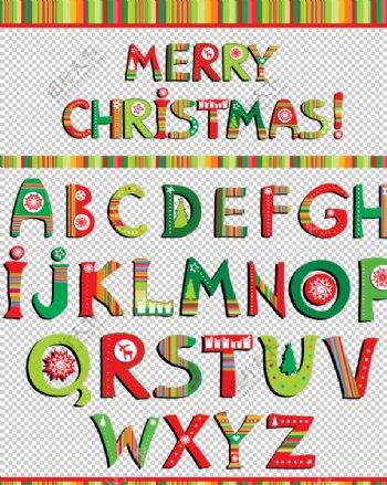 圣诞元素矢量字母图片