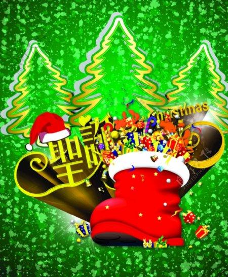 圣诞树素材圣诞鞋绿底图片
