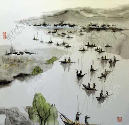 江南山水装饰画图片