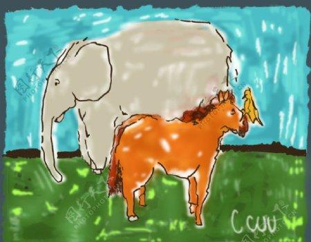 大象马T恤裁片图片