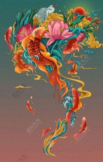锦鲤复古插画卡通背景素材图片