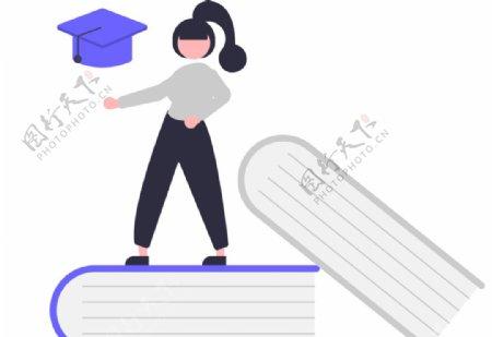 矢量教育书本女孩插画图片