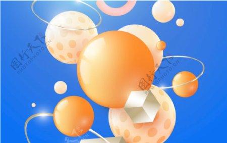 3D立体虚实圆形图形天蓝色背景图片