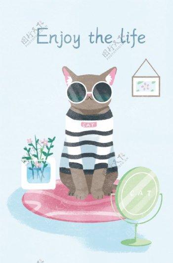 带墨镜的炫酷小猫图片