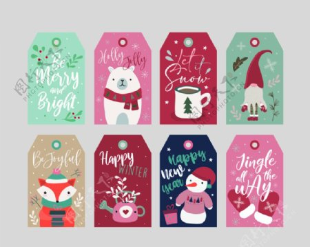 圣诞节卡通吊牌PSD模板图片
