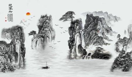 迎客松山水画图片