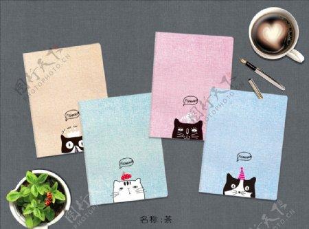 本本本子卡通小猫猫咪图片