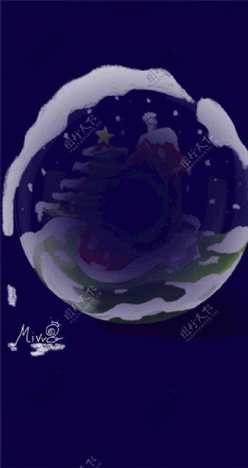 手绘融雪圣诞节水晶球图片