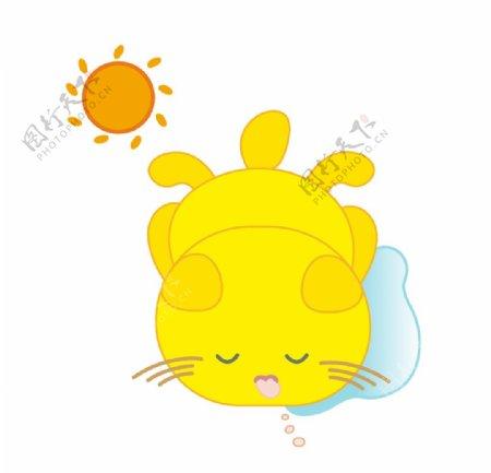 太阳下睡觉的小黄猫图片