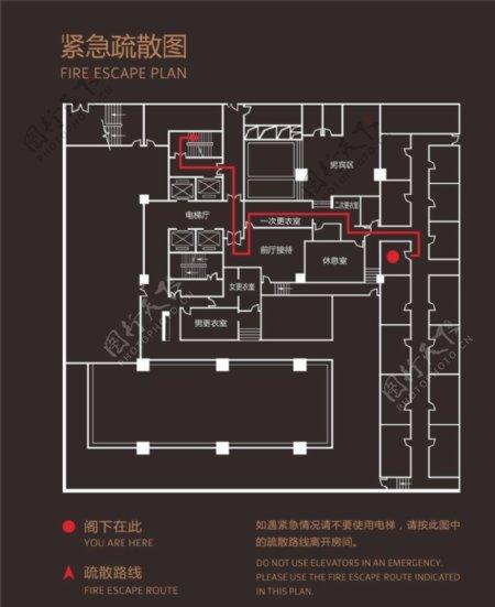 洗浴中心紧急疏散平面图图片
