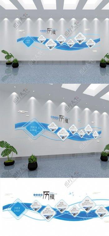 蓝色科技企业发展历程文化墙图片