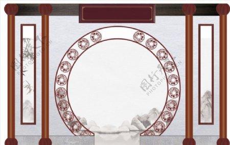 门洞背景装饰拱门古风矢量图片