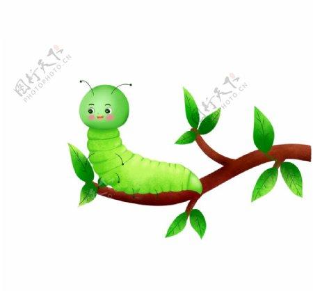 卡通树枝上的毛毛虫图片
