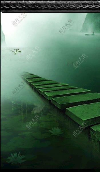 瓦墙素材中国风背景图片