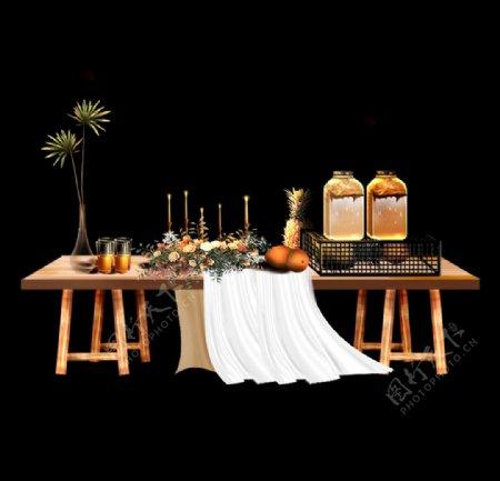 婚礼效果图素材甜品台图片