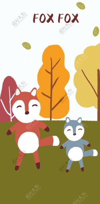 可爱的小狐狸插画图片