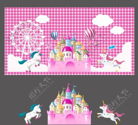 梦幻城堡主题背景图片