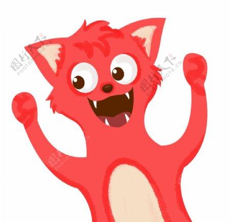 开心张大嘴巴笑的狐狸图片